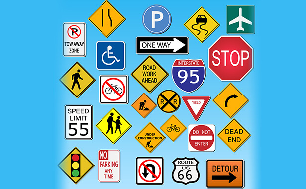 many different road traffic signs